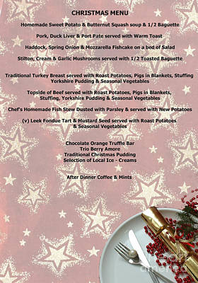 Photograph - Christmas Menu by Terri Waters