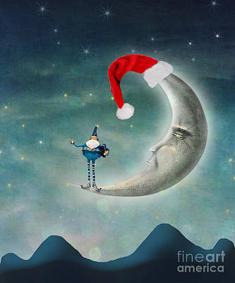 Christmas Moon Art Print by Juli Scalzi