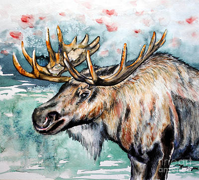 Painting - Christmas Moose by Tracy Rose Moyers