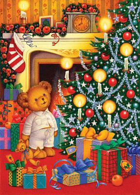 Mantel Painting - Christmas Morning by Carol Lawson