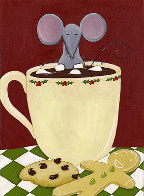 Christmas Cookies Painting - Christmas Mouse by Christy Beckwith
