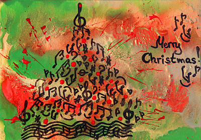 Painting - Christmas Musical Tree by Julia Apostolova