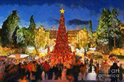Painting - Christmas Night by George Atsametakis