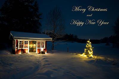 Christmas Night  Merry Christmas And Happy New Year Art Print