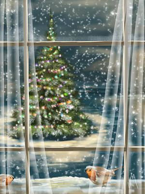 Winter Trees Painting - Christmas Night by Veronica Minozzi