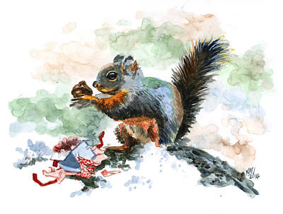 Christmas Squirrels Wall Art - Painting - Christmas Nut by Ken Meyer