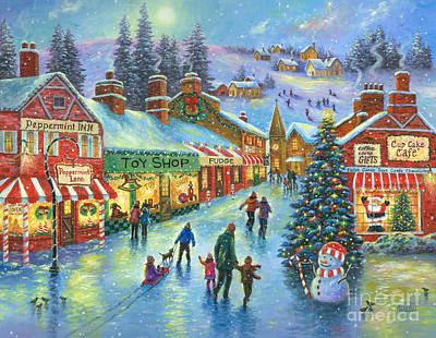 Christmas On Peppermint Lane Print by Vickie Wade