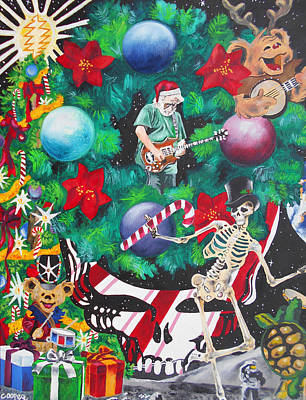 The Grateful Dead Painting - Christmas On The Moon by Kevin J Cooper Artwork