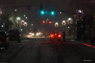 Christmas On The Streets Of Grants Pass Art Print by Mick Anderson