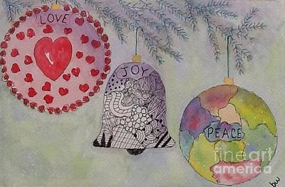 Hearts On Trees Mixed Media - Christmas Ornaments by Bonnie Wright