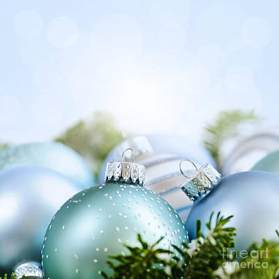 Pine Needles Photograph - Christmas Ornaments On Blue by Elena Elisseeva