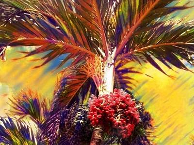 Digital Art - Christmas Palm Tree In Yellow - Horizontal by Lyn Voytershark