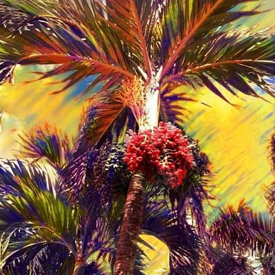Digital Art - Christmas Palm Tree In Yellow - Square by Lyn Voytershark