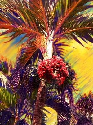 Painting - Christmas Palm Tree In Yellow - Vertical by Lyn Voytershark
