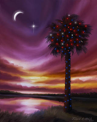 Lowcountry Painting - Christmas Palmetto Tree by James Christopher Hill