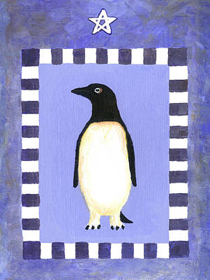 Penguin Painting - Christmas Penguin Three by Linda Mears