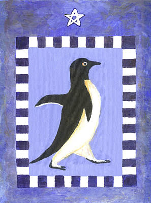 Penguin Painting - Christmas Penguin Two by Linda Mears