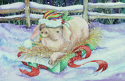 Pink Fence Painting - Christmas Pig by Kathleen Parr Mckenna