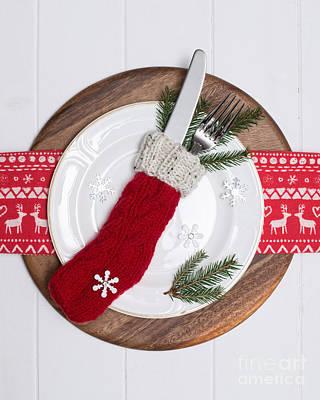 Woollen Photograph - Christmas Place Setting by Amanda Elwell