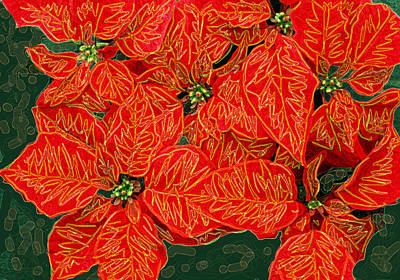 Digital Art - Christmas Poinsettias by Stephanie Grant