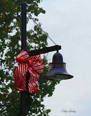 Posts Photograph - Christmas Post And Bow by Cathy Lindsey