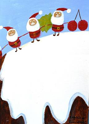 Art Print featuring the painting Christmas Pudding And Santas by Magdalena Frohnsdorff