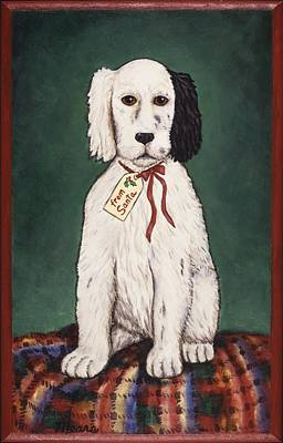 Black Cocker Spaniel Painting - Christmas Puppy by Linda Mears