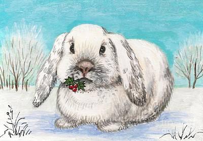 Christmas Rabbit Art Print by Margaryta Yermolayeva
