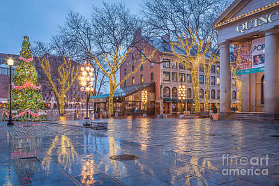 Photograph - Christmas Reflections At Quincy Market by Susan Cole Kelly