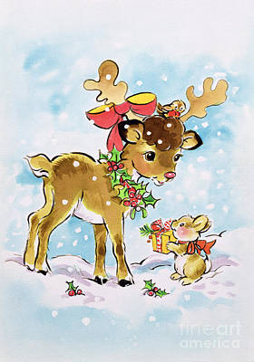 Reindeer Painting - Christmas Reindeer And Rabbit by Diane Matthes
