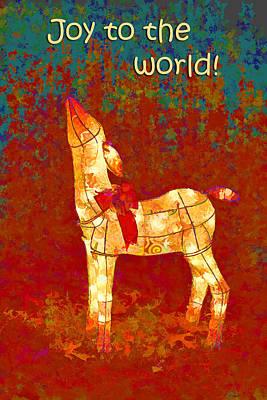 Turquiose Digital Art - Christmas Reindeer by Linda Phelps