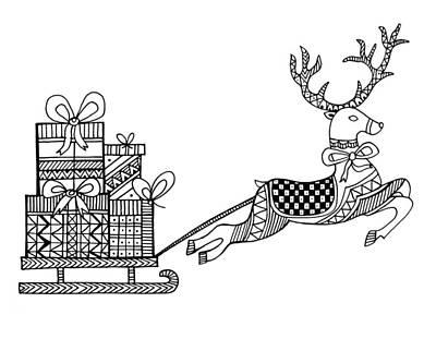 Christmas Colors Drawing - Christmas Reindeer by Neeti Goswami