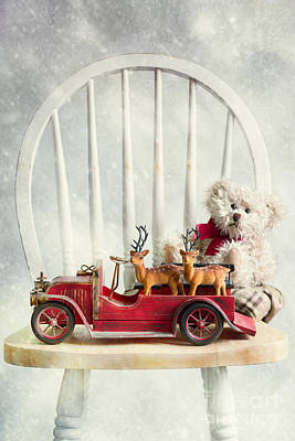 Retro Car Photograph - Christmas Reindeers by Amanda Elwell