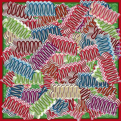 Hard Candies Digital Art - Christmas Ribbon Candies by Margaret Newcomb