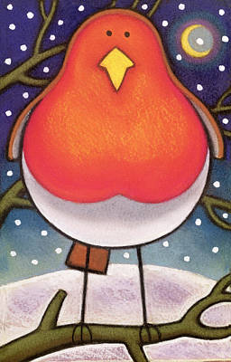 Snowy Mountains Painting - Christmas Robin by Cathy Baxter