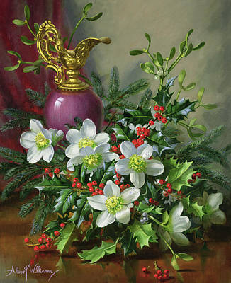 Christmas Roses Art Print by Albert Williams