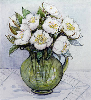 Table Cloth Painting - Christmas Roses by Gillian Lawson