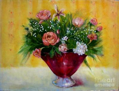Christmas Roses In Cranberry Glass   Copyrighted Original by Kathleen Hoekstra