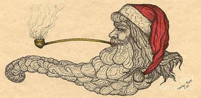 Santa Claus Painting - Christmas Santa Corncob Pipe Cathy Peek Art by Cathy Peek