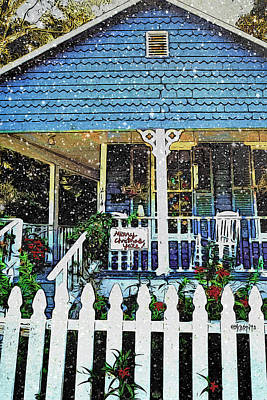 Photograph - Christmas Scene Blue House Snow Falling - Merry Christmas Yall  by Rebecca Korpita