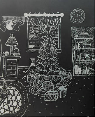 Drawing - Christmas Scene by Chelsea Geldean