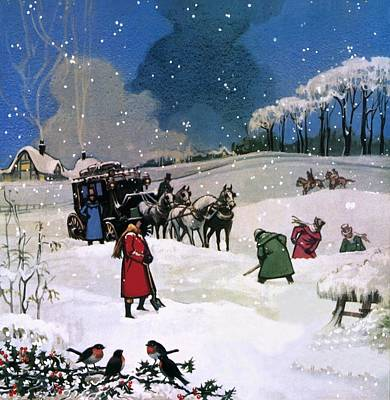 Coach Horses Painting - Christmas Scene by English School