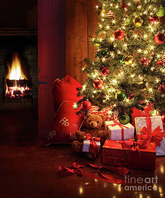 Christmas Scene With Tree And Fire In Background Print by Sandra Cunningham