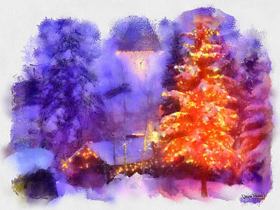 Art Print featuring the painting Christmas Scenes 1 by Wayne Pascall