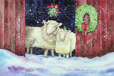 Wreath Painting - Christmas Sheep by Kathleen Parr Mckenna