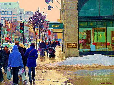 Christmas Shoppers Ogilvys Enchanted Village Window Display A Montreal Xmas Tradition Carole Spandau Art Print by Carole Spandau