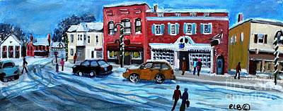 Concord Center Painting - Christmas Shopping In Concord Center by Rita Brown