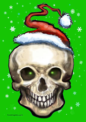 Fun Painting - Christmas Skull by Kevin Middleton