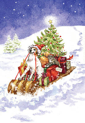 Christmas Sleigh Ride Dog And Cat Art Print by Caroline Stanko