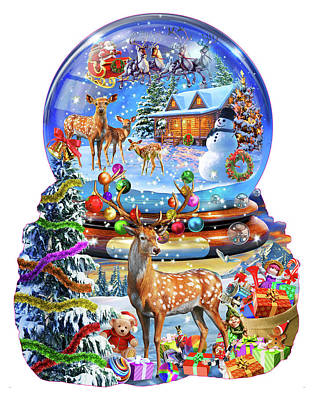 Christmas Present Drawing - Christmas Snow Globe by Adrian Chesterman